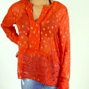 H&M Orange Sheer Polka Dot Blouse Size 14